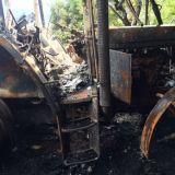 Trattore John deere  6300 incendiato